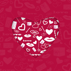 background for Valentine's Day.red heart with a white pattern of