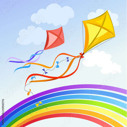 kite with rainbow and clouds