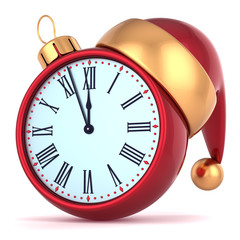 Happy New Year alarm clock countdown bauble Christmas ball adorn
