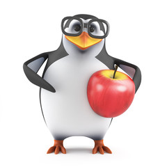 Academic penguin lives on apples