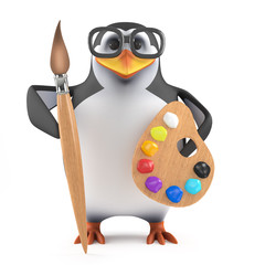 Academic penguin paints with precision