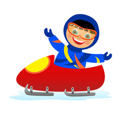 child on bobsleigh