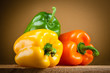 Organic paprica. Three bell peppers isolated. Clipping path