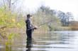 canvas print picture - Angler im Wasser
