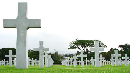 Marble Crosses on a Cemetery