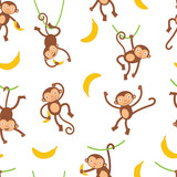 Cute monkeys pattern