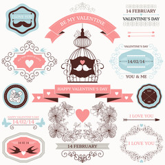 Vector collection of decorative valentines day design elements.