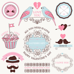 Vector set of valentine's day vintage design elements
