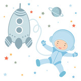 Cute little astronaut in outer space