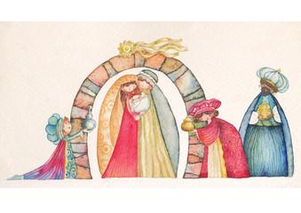 Nativity scene. Jesus, Mary, Joseph and the Three Kings