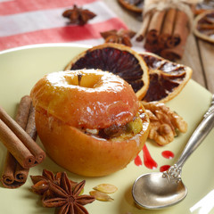 Christmas background of Homemade oven baked stuffed apples