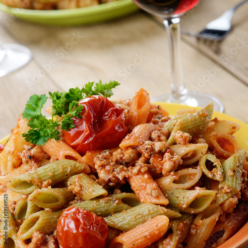 Pasta penne with bolognese