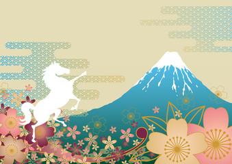 白馬と富士山と桜馬