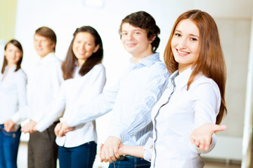 Five students smiling