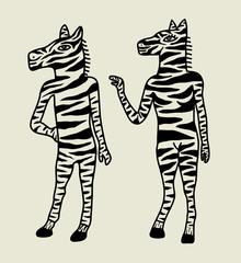 A Couple of Zebra Illustration