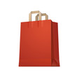 Carrier Shopping Paper Bag Red Empty EPS10