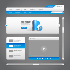 Web UI Controls Elements Gray And Blu