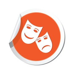 Sticker with theater icon. Vector illustration