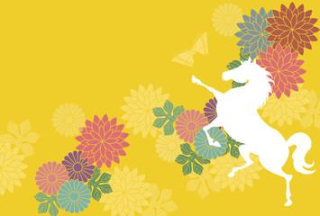 白馬と黄色の背景