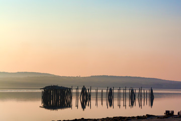 Derelict pilings at Sandy Beach Maine