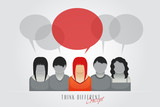 people with speech bubbles - think different concept poster