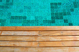 old wood pavement with pool edge background