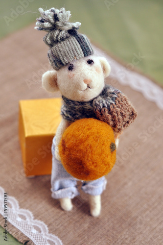 Felted grey Mouse