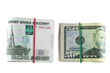 Two packs of 1000 - ruble and 50 - dollar bills, tapered elastic poster