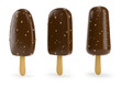 Chocolate ice-cream with nut on stick 3d illustration.