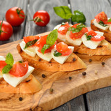 Bruschetta with mozzarella and tomatoes
