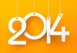 White tags with 2014 on orange background