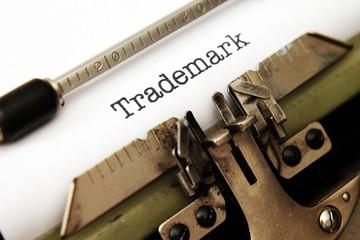Trademark text on typewriter