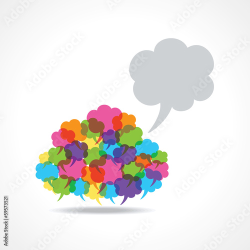 Big speech bubble made from small bubbles stock vector