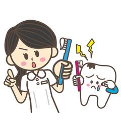 歯科衛生士と歯のキャラクター 虫歯