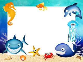 marine animals frame