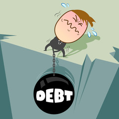 Chains of debt is pull by young businessman