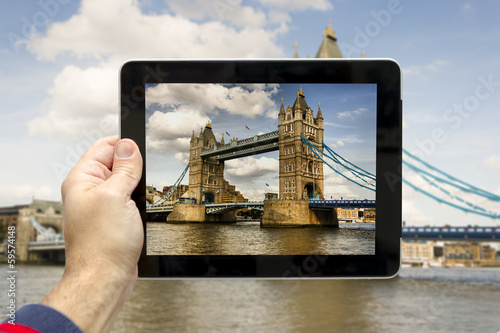 Taking picture with tablet of Tower Bridge