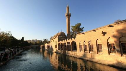 fish lake and Halil-ur Rahman Mosque, wide angle pan shoot