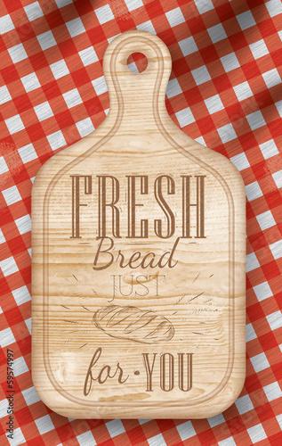 Fototapeta Poster light color lettering Fresh bread for you