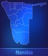 Grenzkarte von Namibia mit Grenzen in einfarbig Scribble