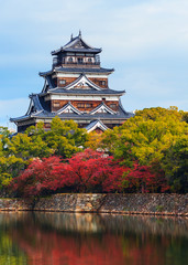 Hiroshima, Japan - November 15 2013: Hiroshima castle built in 1