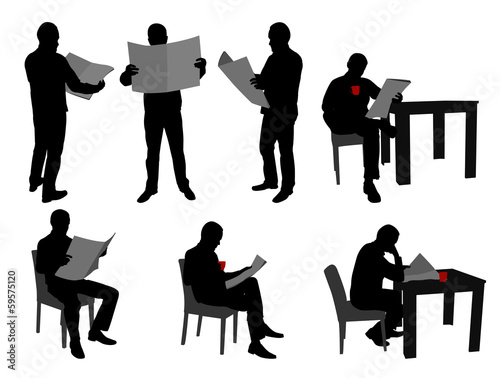 man reading newspapers silhouettes - vector