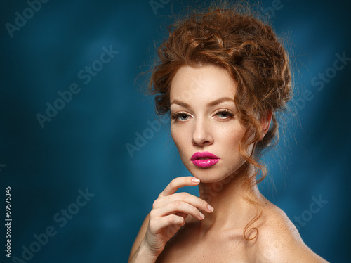 Beauty Fashion Model Girl with Curly Red Hair, Long Eyelashes. B
