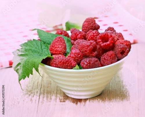 Organic raspberry in a bowl
