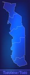 Grenzkarte von Togo mit Grenzen in einfarbig Scribble