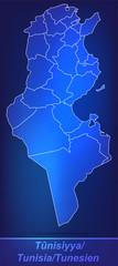 Grenzkarte von Tunesien mit Grenzen in einfarbig Scribble