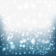 голубой фон с светящимися частичками снежинками
