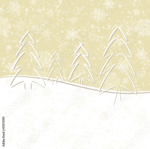 Christmas card with trees