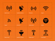 Radio Tower icons on orange background.