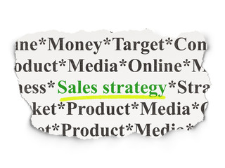 Advertising concept: Sales Strategy on Paper background